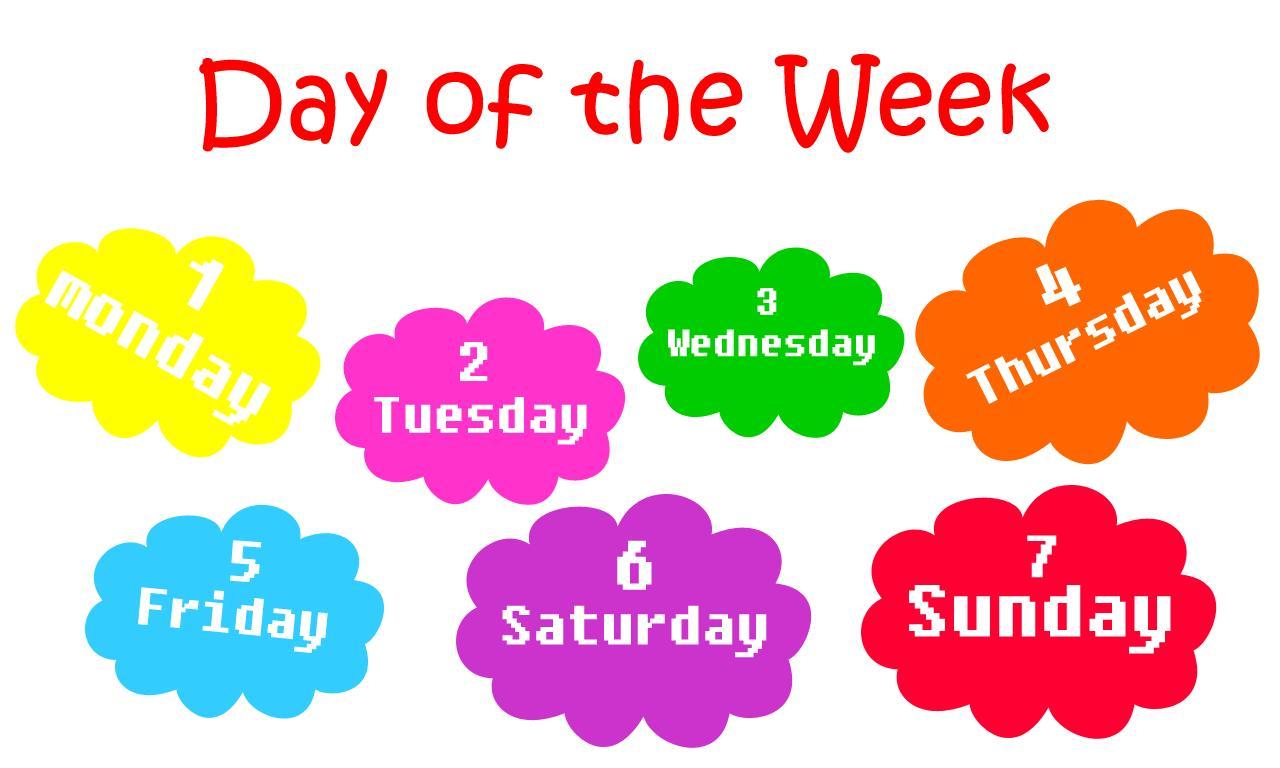 آموزش ذکر ایام هفته به زبان انگلیسی به کودکان